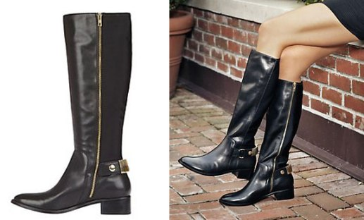 Reggiee Black Riding Boots with Gold Detail