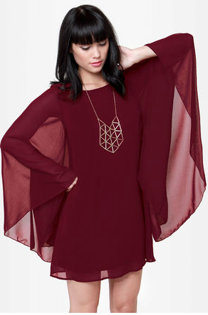 Long sleeve wine red dress from LuLu's